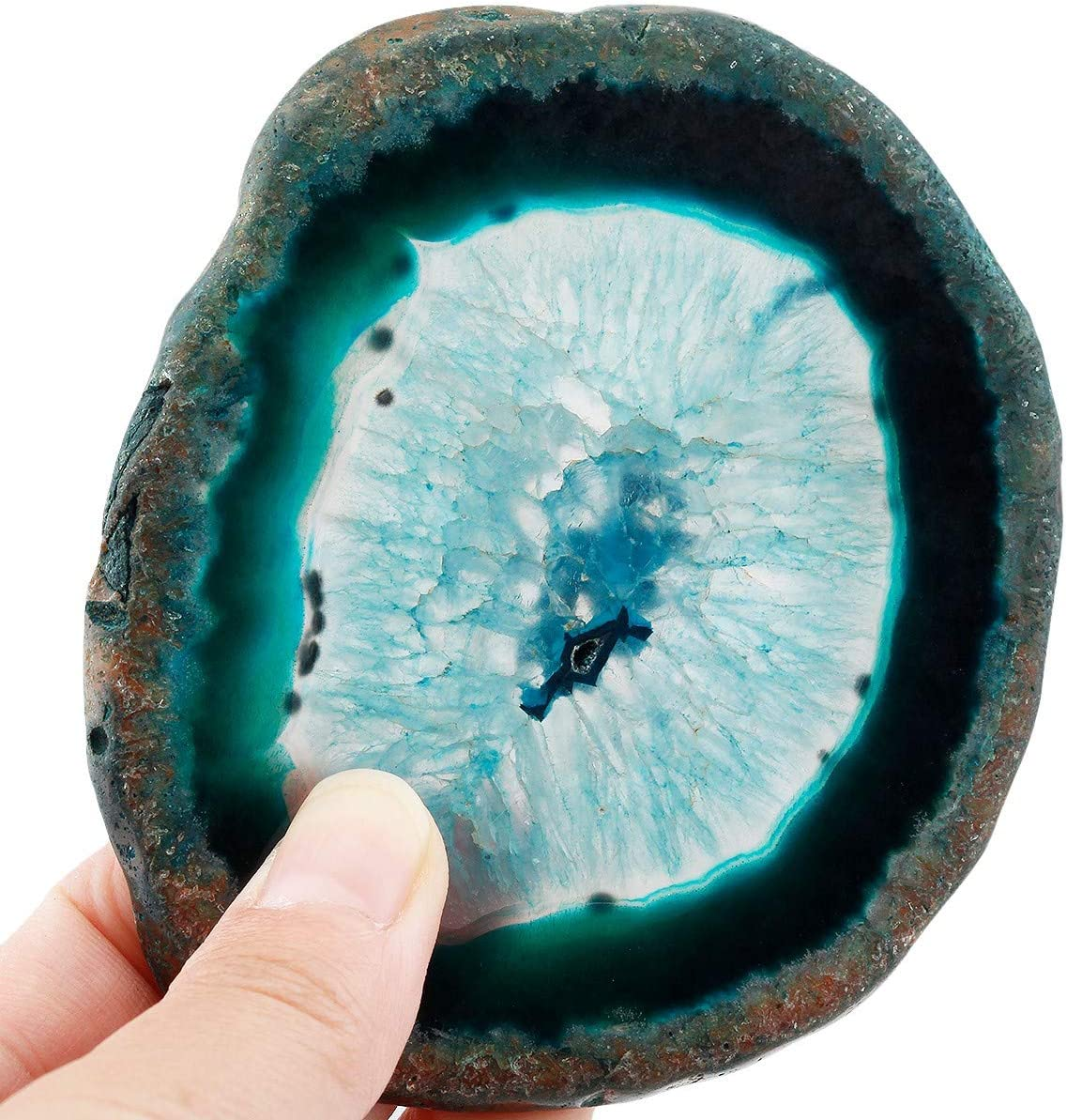 Nupuyai Polished Agate Geode Slices Cup Mats Coasters for Drinks Set of 2, Natural Stone Slab Place Cards for Wedding, Decorative Stone for Home Decoration 3-4 inches