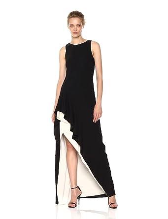 0e04813352b65 Halston Heritage Women s Sleeveless Color Blocked Asymmetrical Flounce  Skirt Gown