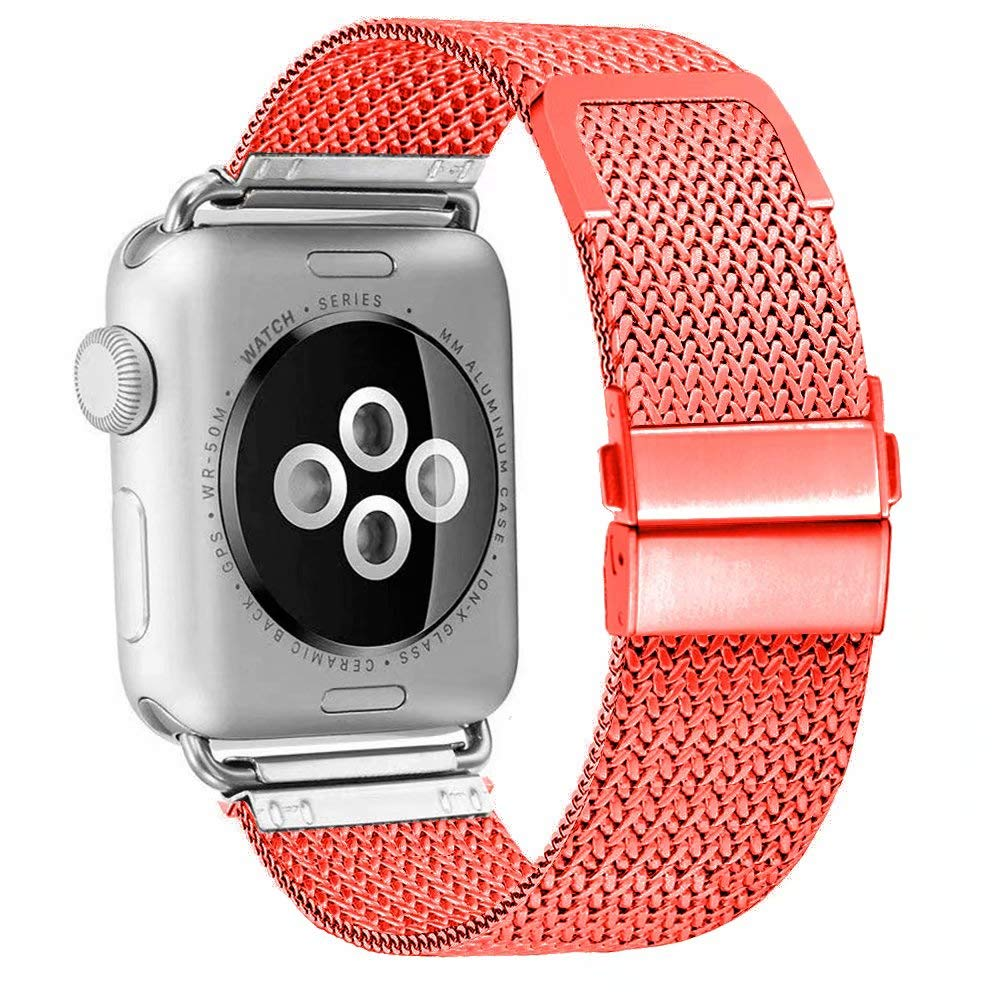 ADWLOF Compatible for Apple Watch Band 42mm 44mm,Stainless Steel Mesh Sport Wristband Loop with Strong Magnetic Closure Strap for iWatch Series 1,2,3,4,Red