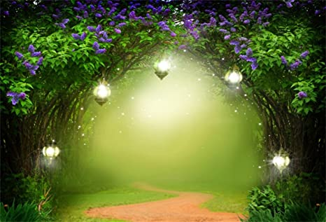 AOFOTO 8x6ft Fantasy Garden Backdrop Beautiful Flower Trees Fairy Tale Lamps Photography Background Dreamlike Forest Magic