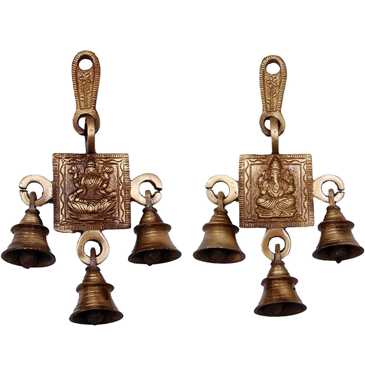 Aakrati 3 Bells Brass Hanging Hindu God Ganesha and Goddess Laxmi Ji Statue Engraved for Luck Home Temple Use - Ganesha Laxmi Statue Hindu Idols Figure with Hanging Bells Unique for Door and Wall