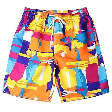 fabba3de87d371 TOPUNDER Mens Pants Men's Shorts Swim Trunks Quick Dry Beach Surfing  Running Swimming Watershort Orange