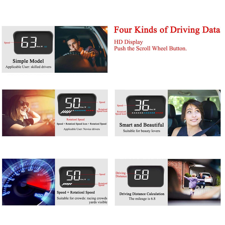 giri del motore Auto universale HUD Head Up Display Interfaccia OBD II//GPS,Velocit/à MPH km//h temperatura dellacqua misurazione chilometraggio avviso di eccesso velocit/à tension