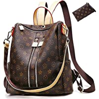 Casual Purse Fashion School Leather Backpack Crossbady Shoulder Bag Mini Backpack for Women & Teenage Girls BLACK BROWN
