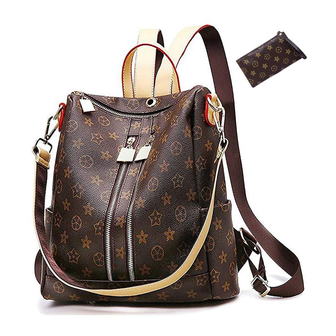 98c2c6281d3 Casual Purse Fashion School Leather Backpack Crossbady Shoulder Bag Mini  Backpack for Women & Teenage Girls BLACK BROWN