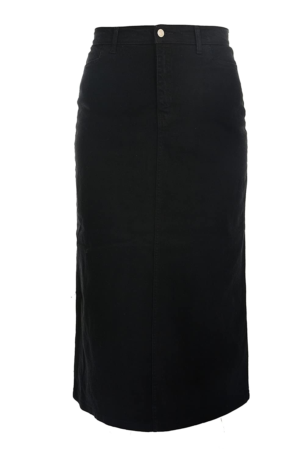 Ice Cool Ladies Women's Black Stretch Denim Maxi Skirt US Sizes 10 to 28. Length 35 Plus Fit Clothing