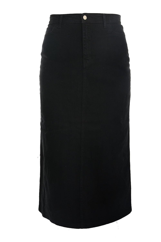 2ad8b295983 Ice Cool Ladies Women s Black Stretch Denim Maxi Skirt Sizes 10 to 28.  Length 35