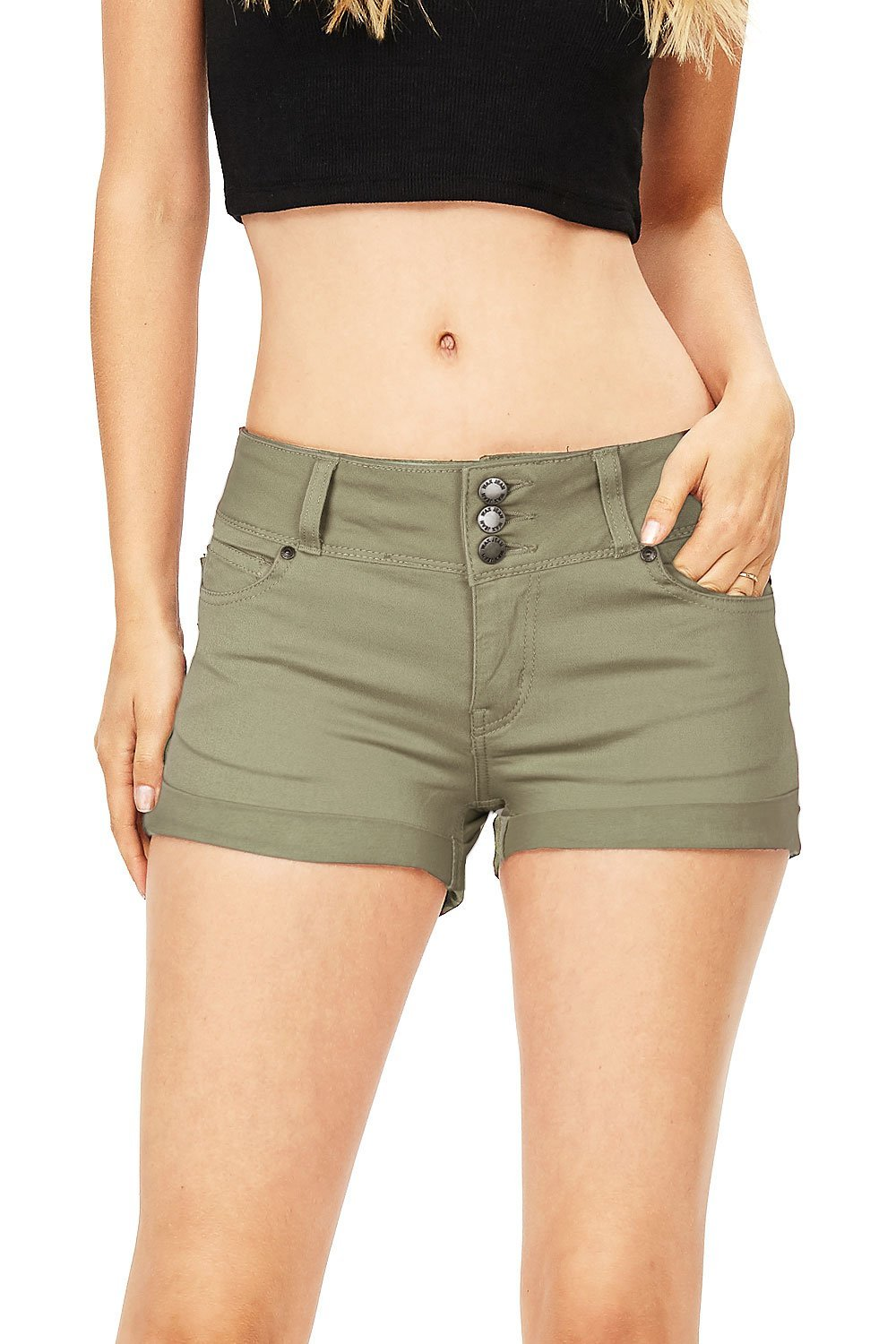 Wax Women's Juniors Casual Push up Fit Shorts (L, Dusty Olive)