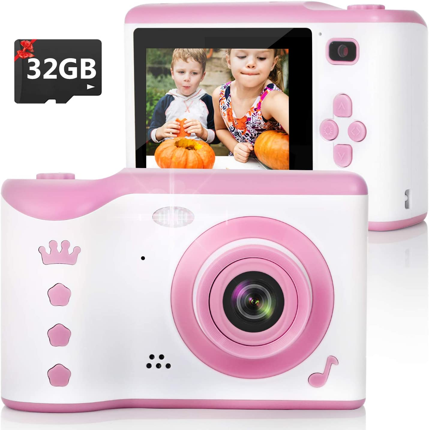 Amazon Com Kids Camera 8 0mp Digital Dual Camera Rechargeable Shockproof Camcorder Camera With 2 8 Inch Touch Screen 32gb Sd Card Included Ideal Toy For 3 12 Years Old Girls Boys Party Outdoor Pink Toys Games