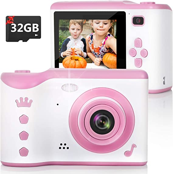 Tyhbelle Kids Camera Soft case Anti-Dropping Digital Camera Camcorder for Kids Toy with TF Card Pink Camera Micro SD Card