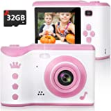 Kids Camera, 8.0MP Digital Dual Camera Rechargeable Shockproof Camcorder Camera with 2.8 Inch Touch Screen,32GB SD Card…