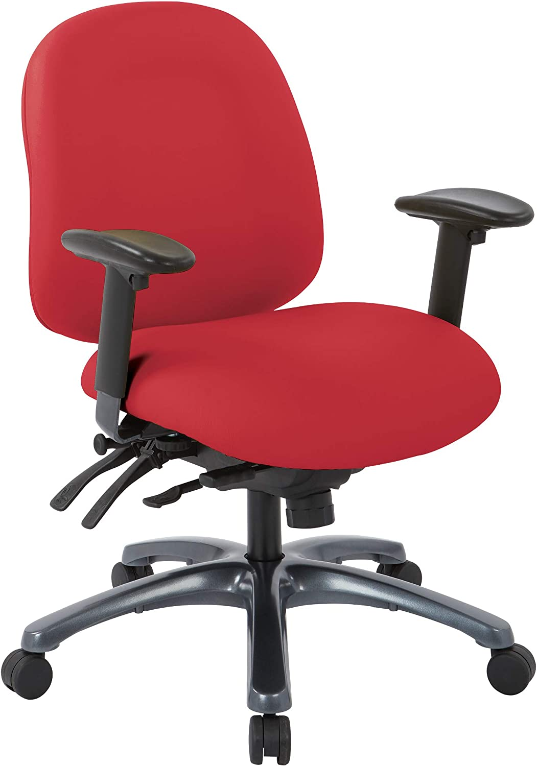 Office Star 8500 Series Multi-Function Mid Back Executive Ergonomic Office Chair with Seat Slider and Titanium Finish Base, Dillon Lipstick Fabric
