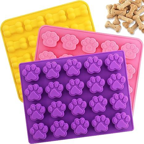 Aplanet Molde de silicona para chocolate – 3 moldes de hueso y huellas de 20 cavidades