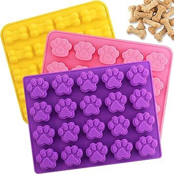 Aplanet Molde de silicona para chocolate - 3 moldes de hueso y huellas de 20 cavidades para cachorros, hacer cubitos de hielo, galletas y candies: ...