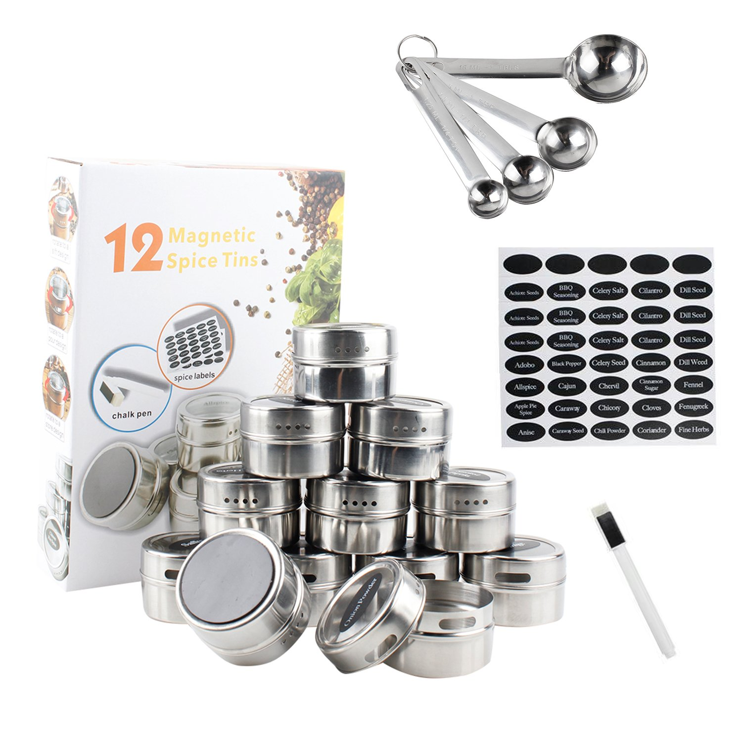 12 Magnetic Spice Tins | 12 Stainless Steel Magnetic Spice Tins Magnetic on Fridge + 120 Spice Labels + White Pen + Measuring Spoons