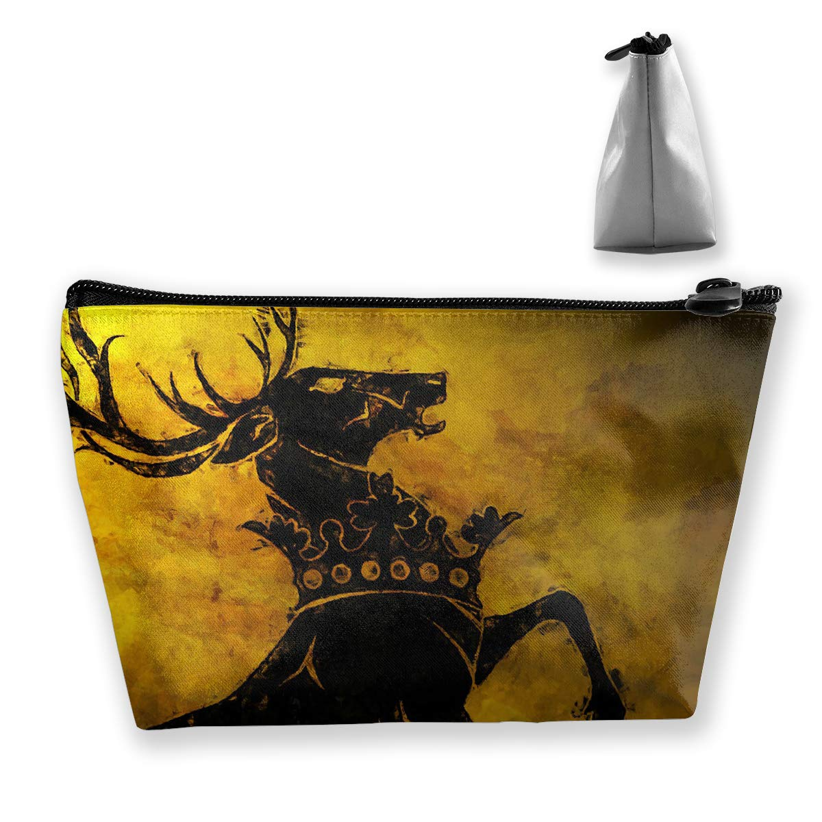 Makeup Bag Cosmetic Deer Game Thrones Portable Cosmetic Bag Mobile Trapezoidal Storage Bag Travel Bags with Zipper