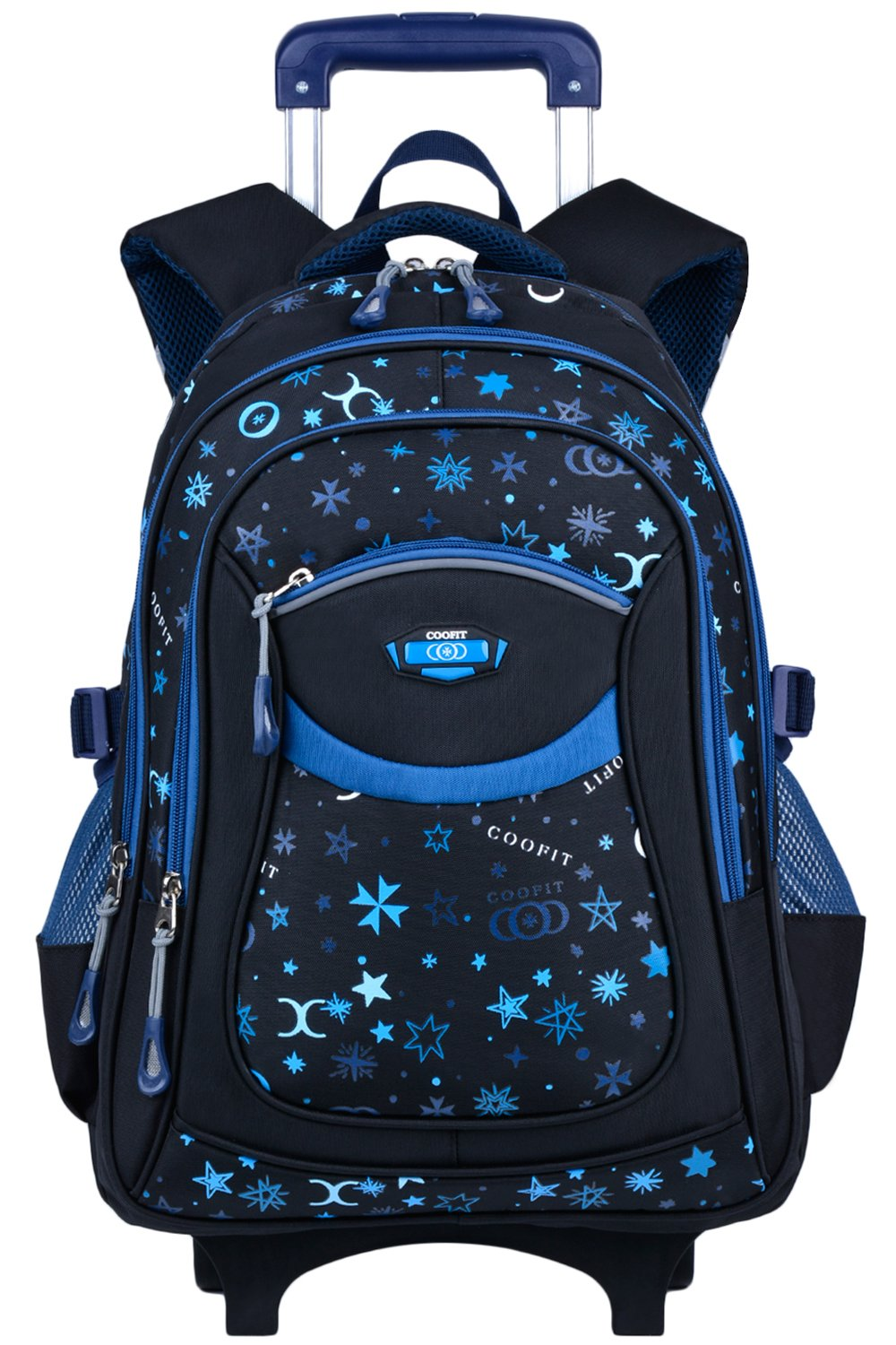 Rolling Backpack, Coofit Wheeled Backpack School Kids Rolling Backpack With Wheels kids luggage (Coofit Originally Design Blue)