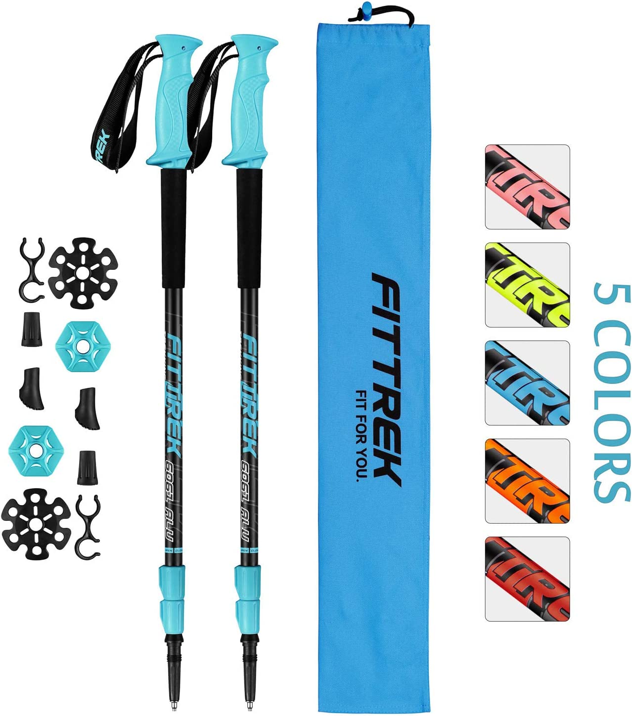 FitTrek Trekking Poles – Carbon Fibre Walking Poles – Hiking Poles Telescopic – Lightweight Nordic Walking Poles for Women, Men and Kids with Walking Poles Rubber Tips and Pole Bag, 1 Pair