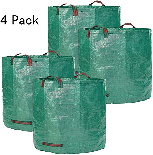 Bolsas de Basura para jardín 272L Sacos de Basura Grandes para Trabajo Pesado Sacos de Basura Reutilizables a Prueba de Agua Bolsas de jardín Tejidas para macetas Poda y jardinería, 4pack: Amazon.es: