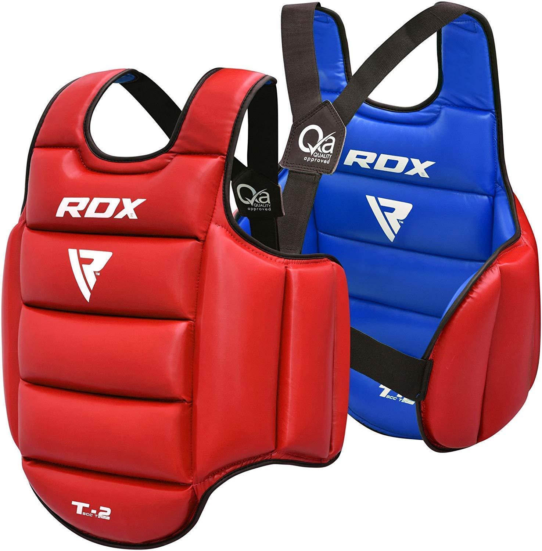 RDX TKD Protecci/ón De Cuerpo MMA Boxeo Vientre para Pecho Peto Taekwondo Reversible