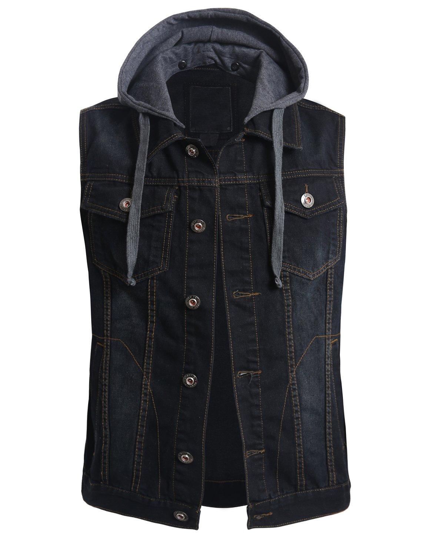 OLLIN1 Mens Casual Denim Vest Jacket with Hoodie,BLACK,Medium by OLLIN1
