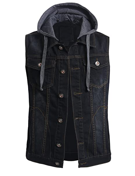 clearance structural disablities superior quality OLLIN1 Mens Casual Denim Vest Jacket with Hoodie
