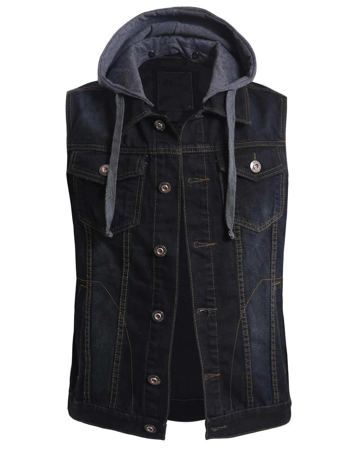 OLLIN1 Mens Casual Denim Vest Jacket with Hoodie,Olnmv424_black,Small by OLLIN1
