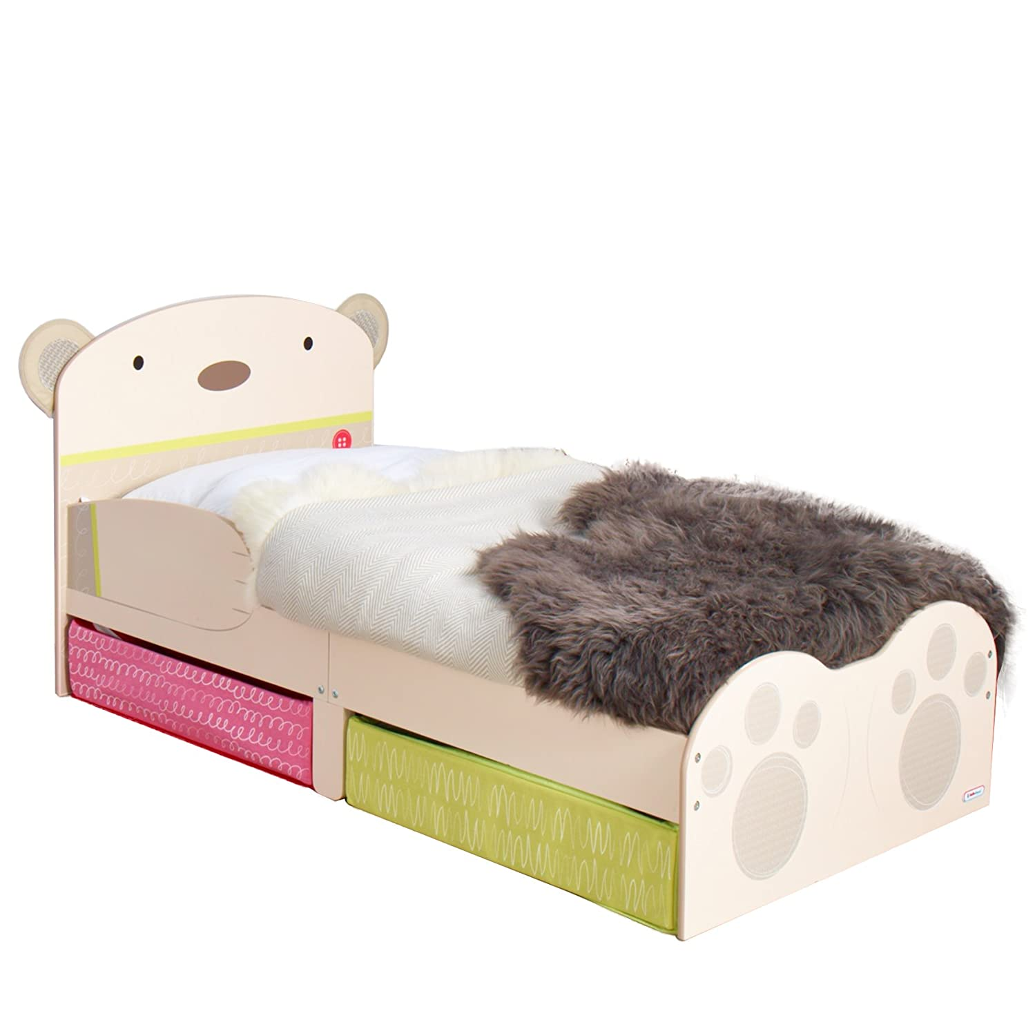 BearHug Kids Toddler Bed with Underbed Storage by HelloHome Worlds Apart 509SNG01EM