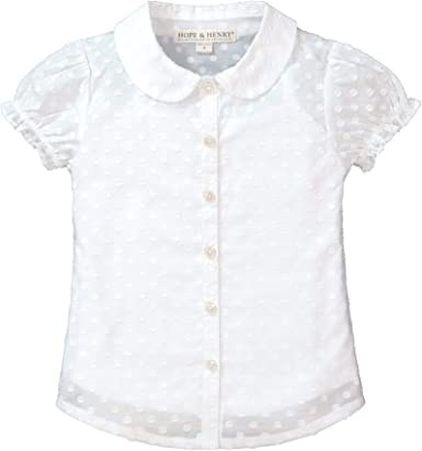 Hope /& Henry Girls Woven Short Flutter Sleeve Top