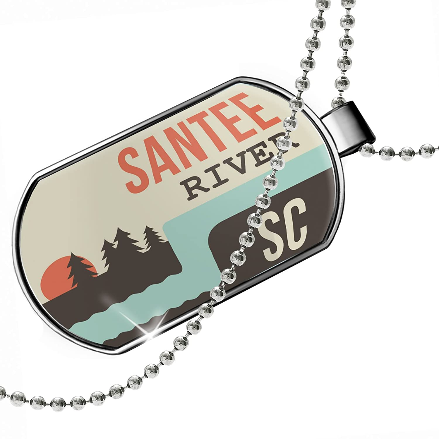 South Carolina Dogtag Necklace NEONBLOND Personalized Name Engraved USA Rivers Santee River