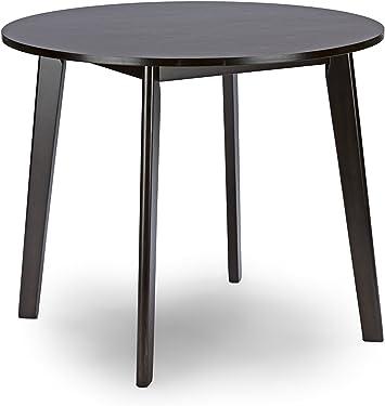 Baxton Studio Debbie Mid Century Round Dining Table Dark Brown Amazon Ca Home Kitchen
