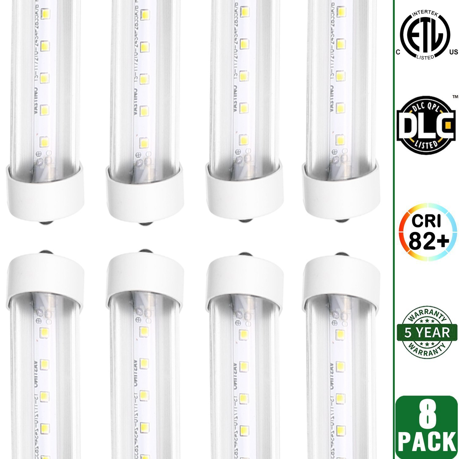 Hykolity 8' T8 T10 T12 36W LED Tube Light [80W Fluorescent Equivalent] 4000lm 5000K Daylight White Clear Lens Cover FA8 Single Pin Dual-End Powered Fluorescent Tube Retrofit Replacement-Pack of 8 by hykolity