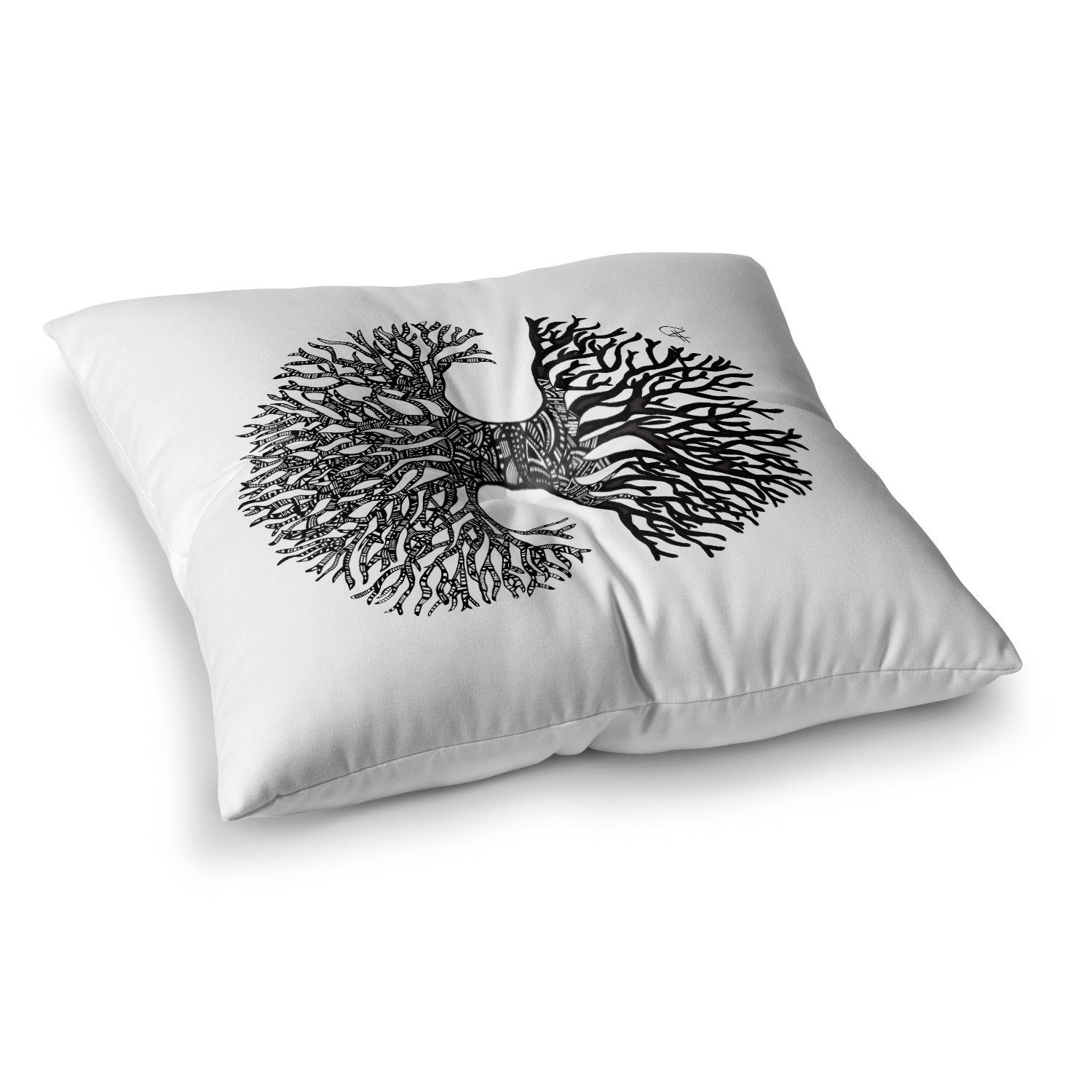 Kess InHouse Adriana De Leon The Tree of Life Black White, 26' x 26' Square Floor Pillow