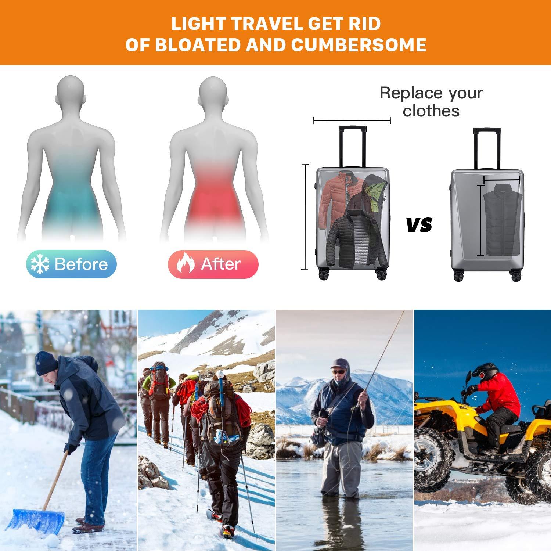 Vinmori Elektrische Beheizte Weste Waschbare Gr/ö/ße Einstellbar USB-Lade Erhitzt Kleidung Winter Warme Weste 5 Leistungsstufen Schwarz