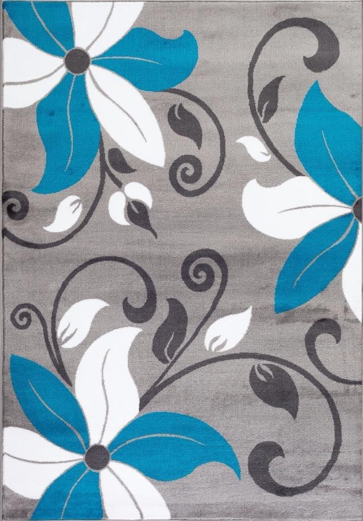 Amazon.com: T1014 Turquoise Gray White 5u00272 X 7u00272 Floral Oriental Area Rug  Carpet: Kitchen U0026 Dining