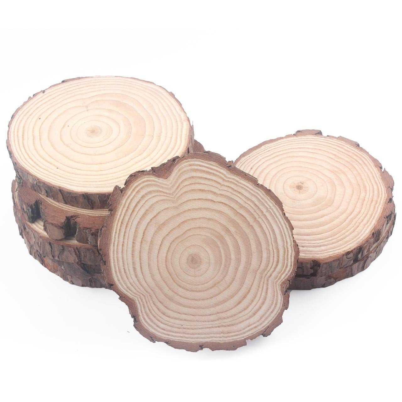 Wood Slabs Untreated Pack of 8, 6-7 inches Coasters Centerpiece Bulk Cupcake Stand Decorations Crafts Thick