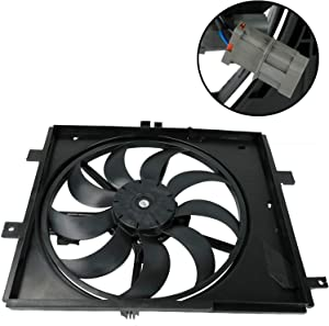 FYATTVA Radiator Cooling Fan Assembly Compatible with 2012-2017 Versa Note Two Plug CVT Trans