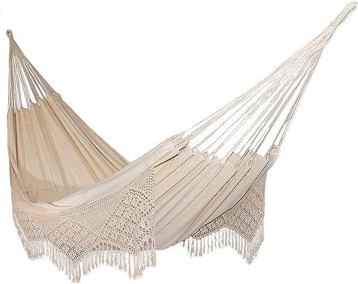 Nanalou Hamaca brasileña con flecos, 100% algodón, fabricada en ...
