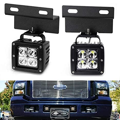 iJDMTOY Lower Grille LED Pod Light Fog Lamp Kit For 2005-07 Ford F250 on