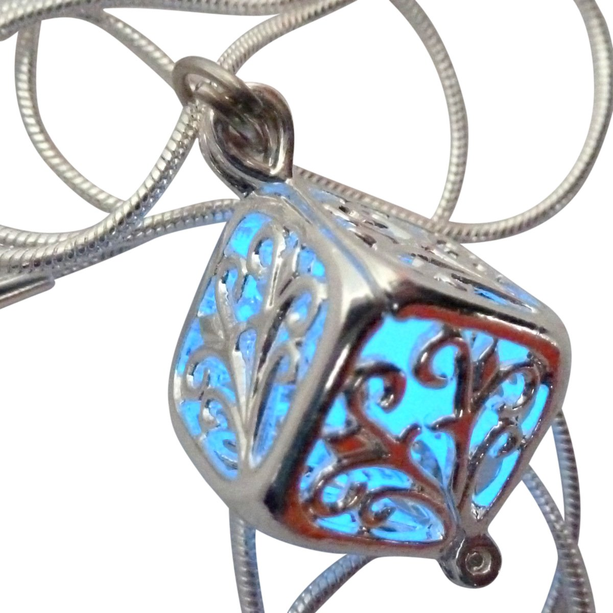 UMBRELLALABORATORY Wishing Square box Magical Fairy Glow in the Dark Necklace-blue-sil
