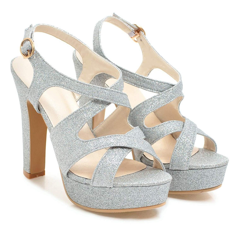 Silver Women's Platform Sandals Summer Thick High Heels Women Sandals