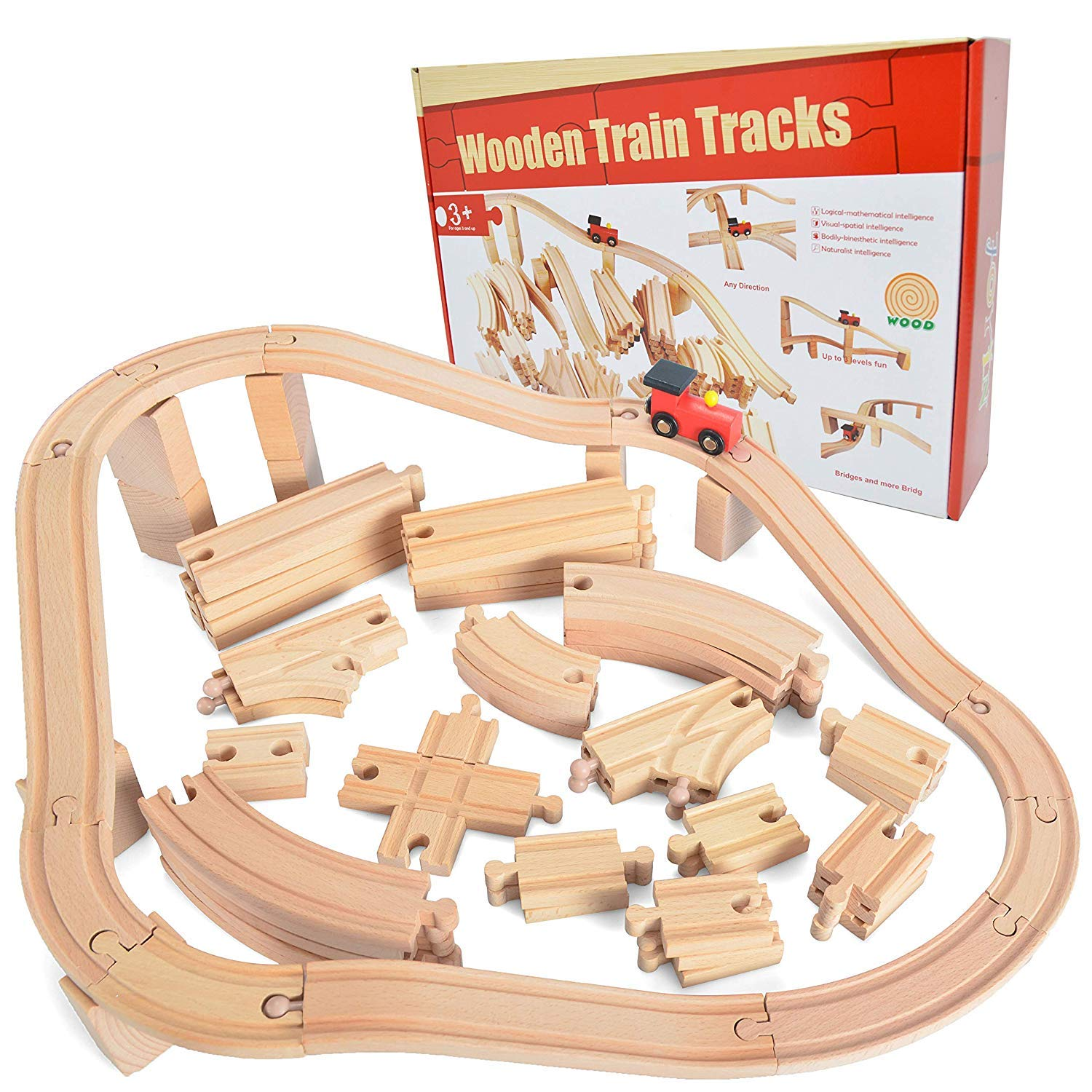 62 Pieces Wooden Train Track Expansion Set + 1 Bonus Toy Train -- New Version Compatible with All Major Brands Including Thomas Battery Operated Motorized Ones by Toy