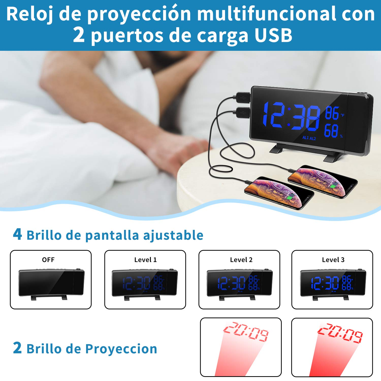 PEYOU Despertador Digital Proyector, FM Radio Reloj ...