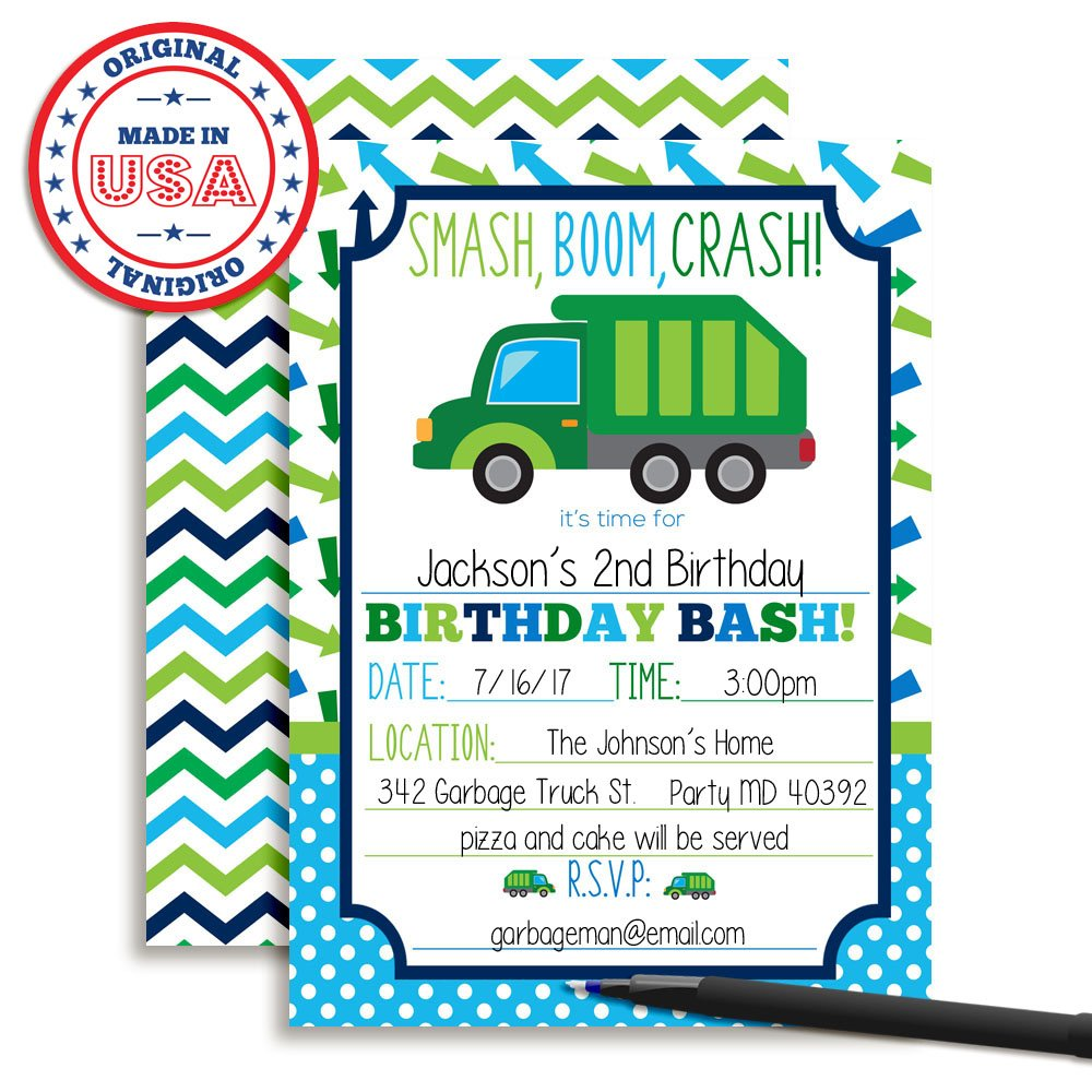 Amazon.com : Garbage Truck Birthday Party Invitations for Boys, Ten ...