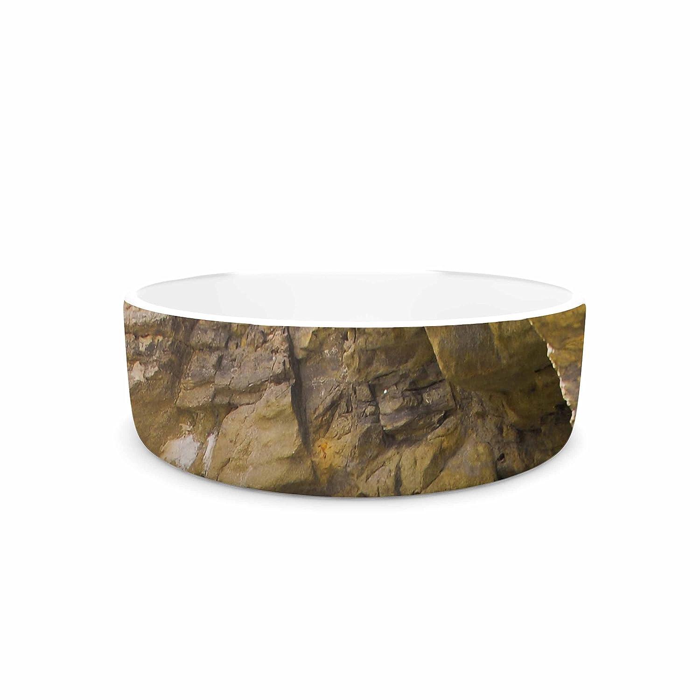 KESS InHouse Nick Nareshni Sand & Stone Walls  Brown White Pet Bowl, 7