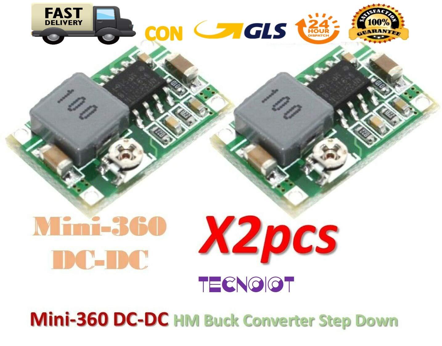 TECNOIOT 2pcs Mini360 Mini-360 DC-DC HM Buck Converter Step Down Power Supply Ultra-Small