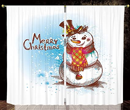 Ordinaire IPrint 2 Panel Set Satin Window Drapes Kitchen Curtains,Snowman Sketch  Style Artwork Traditional Figure
