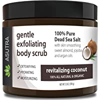 "ASUTRA Organic Exfoliating Body Scrub -""REVITALIZING COCONUT"" - 100% Pure Dead Sea Salt Scrub/Ultra Hydrating & Moisturizing with SKIN SMOOTHING Jojoba, Sweet Almond & Argan Oils - 12oz…"