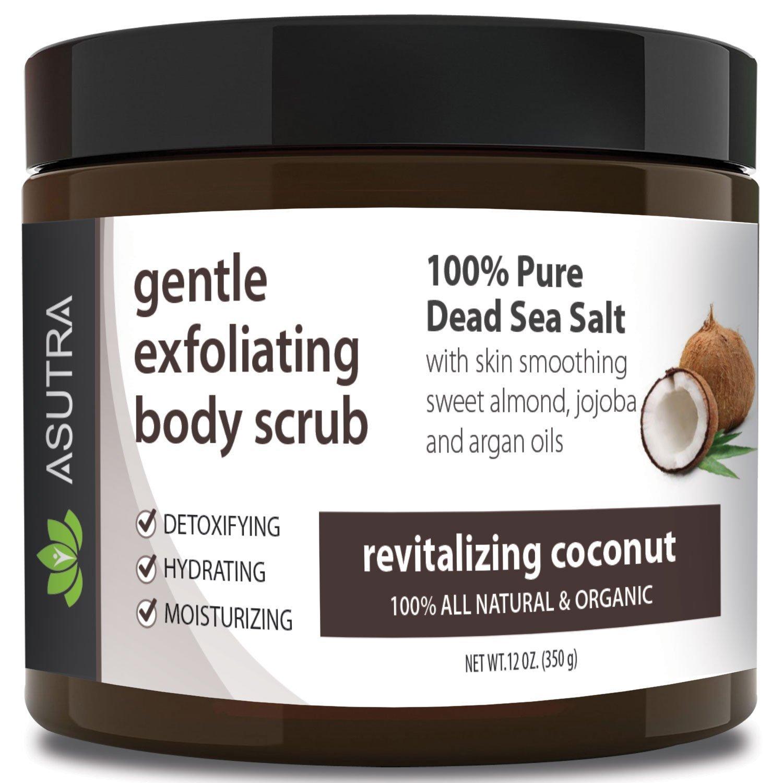 Best ORGANIC Exfoliating Body Scrub -REVITALIZING COCONUT - 100% Pure Dead Sea Salt Scrub/Ultra Hydrating & Moisturizing with SKIN SMOOTHING Jojoba, Sweet Almond & Argan Oils - 12oz… ASUTRA