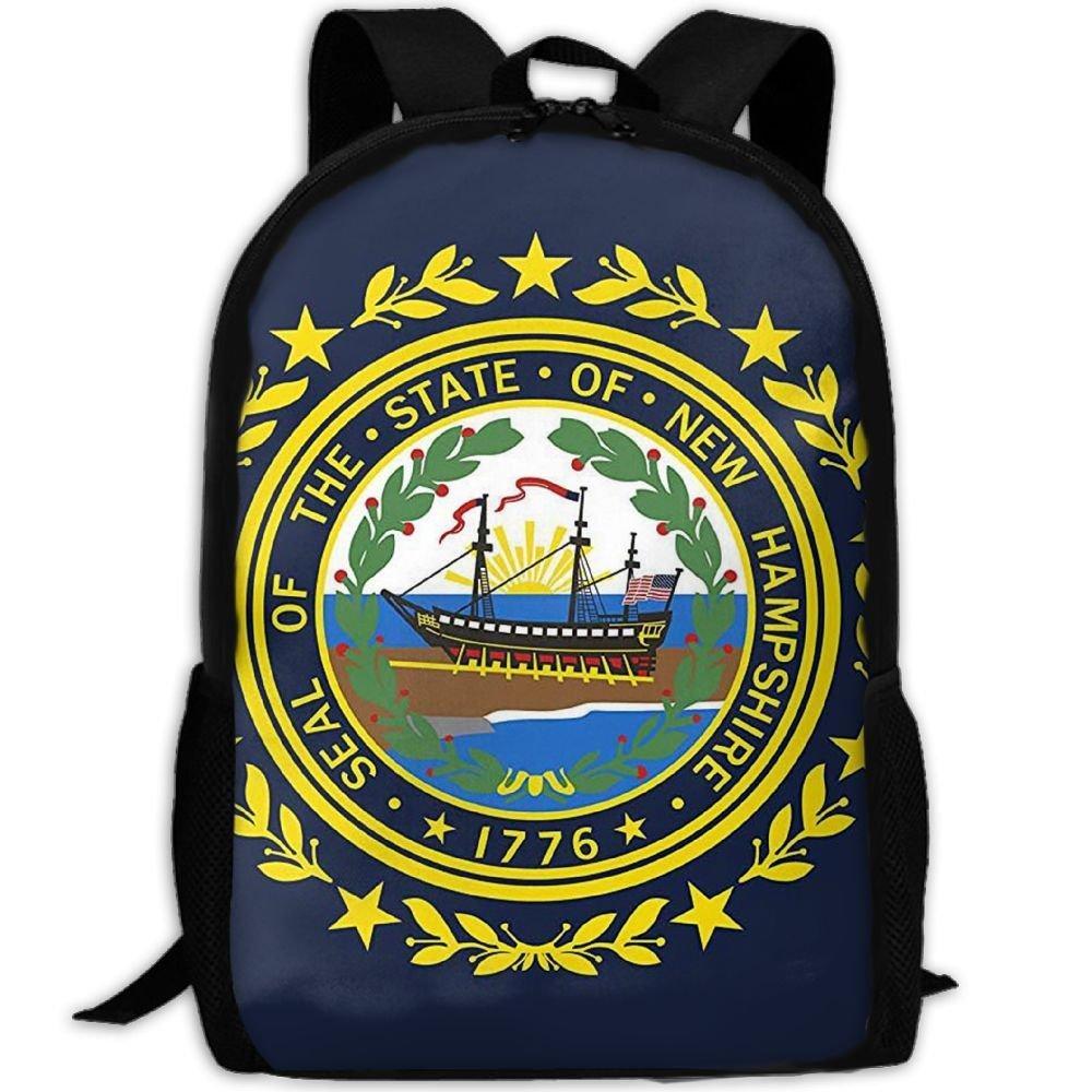 klnsha7 New Hampshire State Flagキャンバスバックパックスクールバッグ旅行用デイパック   B07G1ZR5SH